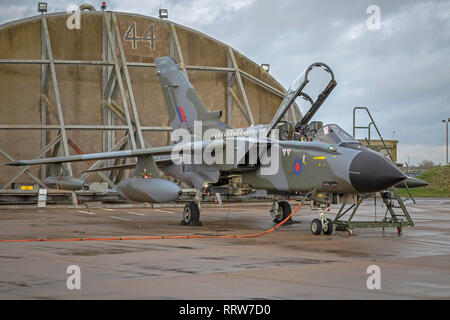 Royal Air Force Tornado GR4, ZG752 in retro 1980's camo colours to celebrate the aircrafts retirement from service with the RAF after 40 years - Stock Photo