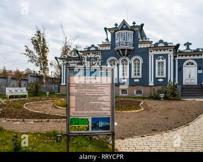 Irkutsk, Russia - August 24, 2016: Old wooden houses in Irkutsk. Wooden architecture of Russia - Stock Photo