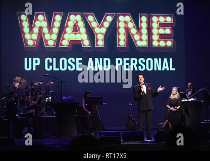 The Villages, Florida, USA. 26th Feb 2019.  Singer and entertainer Wayne Newton, known as 'Mr. Las Vegas', performs his new stage show, 'Wayne Newton: Up Close and Personal' on February 26, 2019 at the Sharon Performing Arts Center in The Villages, Florida. In January 2019, Newton, 76, celebrated his 60th year performing in Las Vegas, Nevada with an engagement at Caesars Palace. (Paul Hennessy/Alamy) Credit: Paul Hennessy/Alamy Live News - Stock Photo