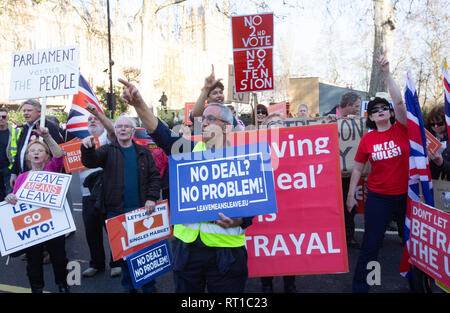 London, UK. 27th Feb, 2019. Leave  supporters demonstrate at Westminster. They want to leave the European Union on March 29th or at a later date. Credit: Tommy London/Alamy Live News - Stock Photo