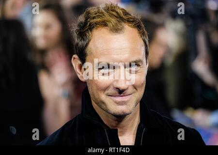 London, UK. 27th Feb, 2019. Jude Law at European Gala of Captain Marvel held at the Curzon, Mayfair on Wednesday, Feb. 27, 2019 . Picture by Julie Edwards Credit: Julie Edwards/Alamy Live News - Stock Photo