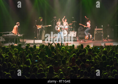 London, UK. 27th Feb, 2019. The Lemon Twigs performing live on stage at the Roundhouse in London. Photo date: Wednesday, February 27, 2019. Photo credit should read Credit: Roger Garfield/Alamy Live News - Stock Photo