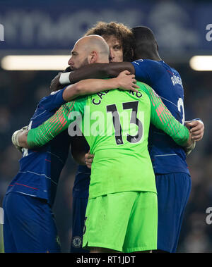 London, UK. 27th Feb, 2019. Chelsea's players celebrate after the Premier League match between Chelsea and Tottenham Hotspur at Stamford Bridge Stadium in London, Britain on Feb. 27, 2019. Chelsea won 2-0.  Editorial use only, license required for commercial use. No use in betting, games or a single club/league/player publications.'  Credit: Han Yan/Xinhua/Alamy Live News - Stock Photo