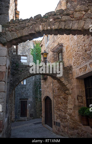 Pals, a medieval town with stone houses in Catalonia, Girona, Spain - Stock Photo
