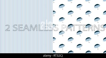 Set of two seamless patterns in blue color - Stock Photo