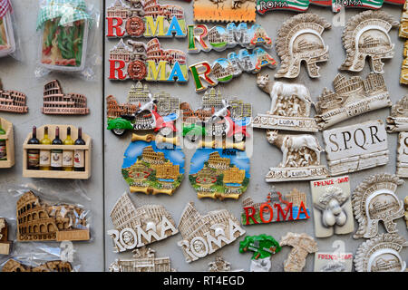 Fridge Magnets or Souvenirs of Roman Landmarks for Sale in Gift Shop Rome Italy - Stock Photo