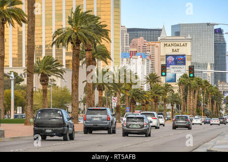 LAS VEGAS, NEVADA, USA - FEBRUARY 2019: Traffic northbound on Las Vegas Boulevard, which is also known as the Las Vegas Strip. - Stock Photo