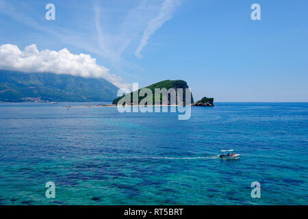 Montenegro, Adriatic Coast, near Budva, Sveti Nikola Island - Stock Photo