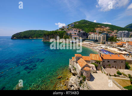 Montenegro, Adriatic Coast, Budva, Old town and city beach - Stock Photo
