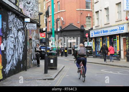 Brick Lane, Spitalfields, East End, London, England, United Kingdom - Stock Photo