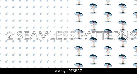 Vector set of two seamless patterns in blue color with girls, umbrellas and water drops - Stock Photo