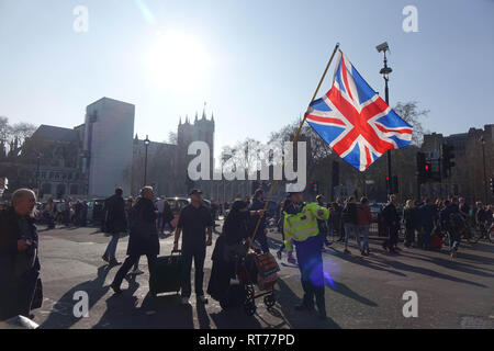 Westminster, London, UK. 27th Feb, 2019. Pro-Brexit Activists demonstrate in Westminster, London. Credit: Thomas Krych/Alamy Live News Credit: Thomas Krych/Alamy Live News - Stock Photo