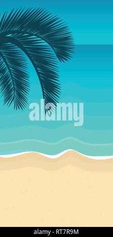 palm tree leaf on the beach with turquoise water summer holiday background vector illustration EPS10 - Stock Photo