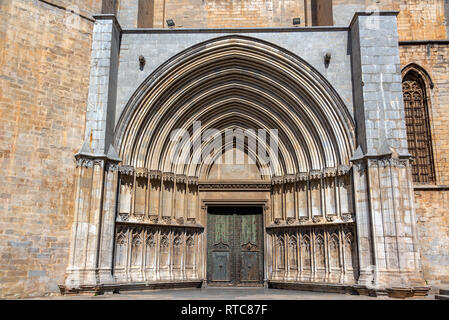 Beautiful ornate entrance to the Cathedral in Girona, Spain - Stock Photo