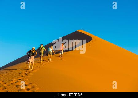 Tourist group walking up the giant sanddune Dune 45, Namib-Naukluft National Park, Namibia - Stock Photo
