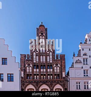House Ratzow and other old houses in the old town of Rostock, Germany - Stock Photo