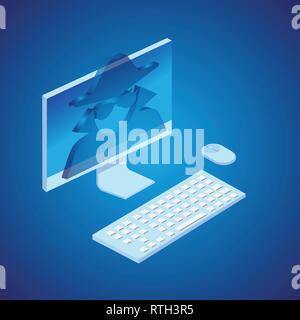 Spy in computer. Isometric style. Vector. - Stock Photo