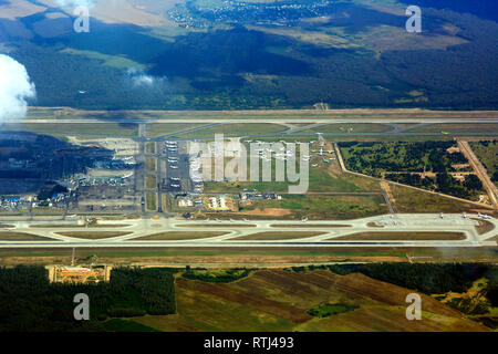 Aerial view of Tbilisi airport, Georgia - Stock Photo