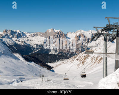Dolomites Alps - overlooking the Sella group  in Val Gardena. Italy - Stock Photo