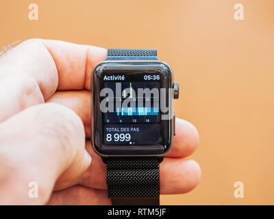 PARIS, FRANCE - SEP 22, 2017: New Apple Watch Series 3 goes on sale in Apple Store with total steps pedometer watch app  - Stock Photo