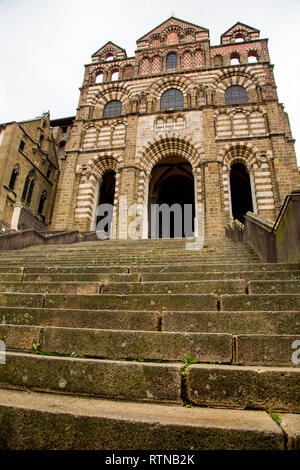 The steps leading to Le Puy Cathedral in France - Stock Photo
