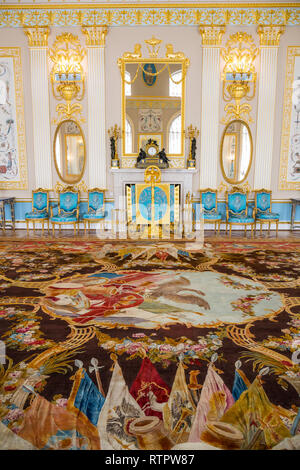 SAINT PETERSBURG, RUSSIA - APRIL 26: Catherine Palace, interior detail on April 26, 2015 in the town of Tsarskoye Selo. It was the summer residence of - Stock Photo