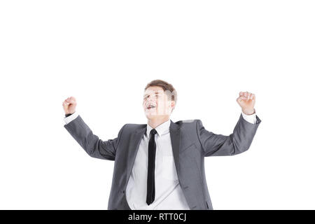 closeup.a very happy young businessman.isolated on a white - Stock Photo