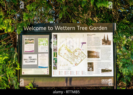 Croydon, United Kingdom - February 23, 2019:  Wettern Tree Garden in Sanderstead, Purley Oaks Road. A unique collection of trees and shrubs  establish - Stock Photo