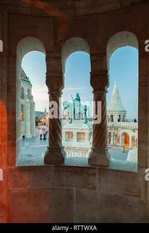 Evening at Fisherman's Bastion in the Castle District of Budapest, Hungary. - Stock Photo