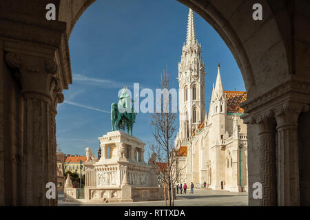 Morning at Fisherman's Bastion in Castle District of Budapest, Hungary. - Stock Photo