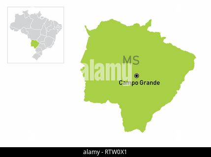 A colorful map of the Mato Grosso do Sul State and its location in Brazil - Stock Photo