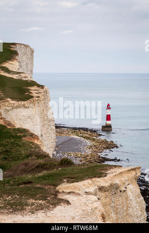 View from the top of the Seven Sisters cliffs looking towards the cliffs and Beachy Head Lighthouse from the west near Birling Gap, Sussex, UK - Stock Photo