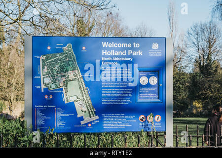 London, UK - February 23, 2019: Welcome sign by North Abbotsbury entrance to Holland Park, London. Holland park is the largest park in Kensington and  - Stock Photo