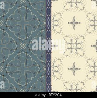 Classic seamless patterns in two colors and frieze. Vector illustration. - Stock Photo