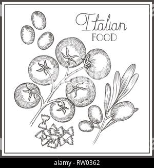 delicious italian food in drawing - Stock Photo