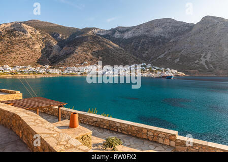 A beautiful view of the sea bay in the late afternoon on the island of Sifnos in Greece. - Stock Photo