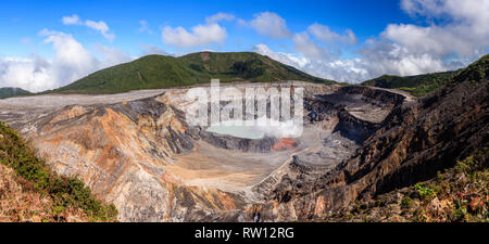 Panoramic view of the crater of Poas Volcano in Costa Rica - Stock Photo