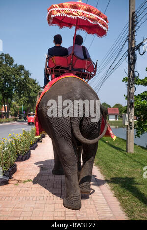 Thailand, Ayutthaya October 31 2017: Tourists on a elephant tour ride of the ancient city. Back side view. - Stock Photo