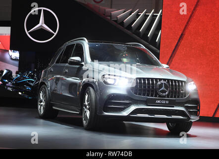 Genf, Switzerland. 05th Mar, 2019. The AMG GLE 53 is presented at the Geneva Motor Show on the first press day. The 89th Geneva Motor Show starts on 7 March and lasts until 17 March. Credit: Uli Deck/dpa/Alamy Live News - Stock Photo