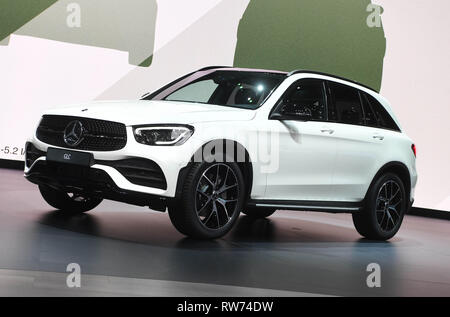 Genf, Switzerland. 05th Mar, 2019. The Mercedes-Benz GLC will be presented at the Geneva Motor Show on the first press day. The 89th Geneva Motor Show starts on 7 March and lasts until 17 March. Credit: Uli Deck/dpa/Alamy Live News - Stock Photo