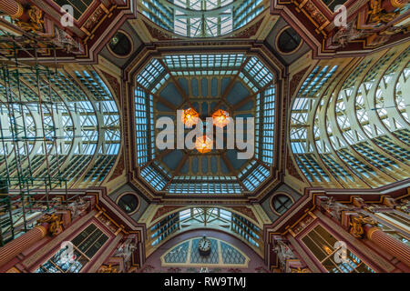 LONDON, UK - FEBRUARY 23, 2019:  View of ceiling in Leadenhall Market, Gracechurch Street. - Stock Photo