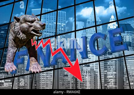Symbol photo, falling stock prices on the stock exchange, red arrow down, bear as a sign, financial world, Germany - Stock Photo