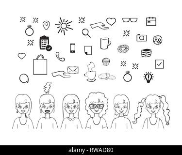 Set of cute girls with cookies, coffee, donut, cupcake, ring, bag, phone, books and letter, hand drawn outline style design doodle vector illustration - Stock Photo