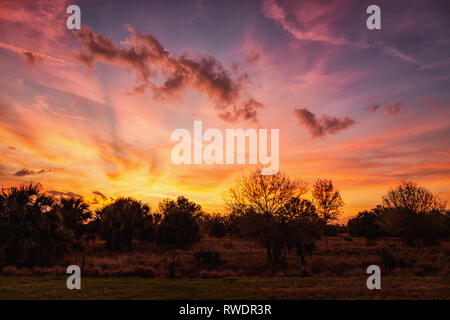 A Dramatic Sunset Over Rural Florida, USA. Color Image. - Stock Photo