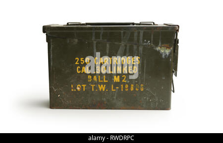 Dirty Ammo Container 250 Cartridges Front - Stock Photo