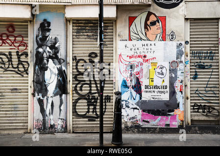 Graffiti Street Scene East End London, England - Stock Photo