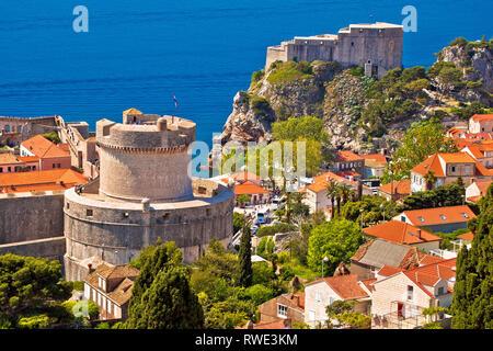Dubrovnik walls and Minceta tower view, UNESCO world heritage site in Croatia - Stock Photo