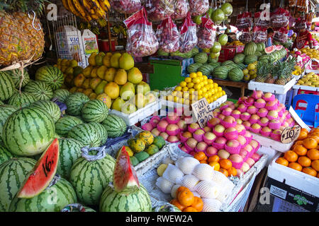 Tropical Fruit Stand, a colorful market in Davao City, Philippines - Stock Photo