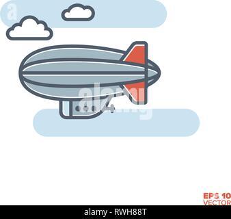 zeppelin blimp in flight filled line icon vector illustration - Stock Photo