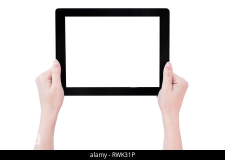 Teenage beautiful girl holding a black tablet pc template with white screen isolated on white background, close up, mock up, clipping path, cut out - Stock Photo